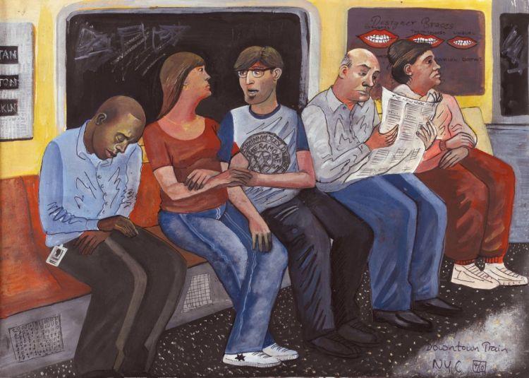 Downtown train passngers new york metro new york study