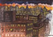 Manhattan at night from upper west side study
