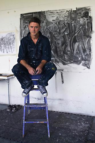 Ed gray in his studio in mile end